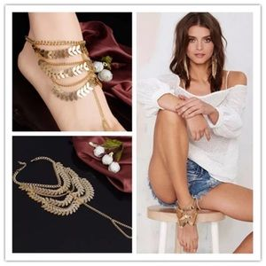 Jewelry - Pair Boho Gold Foot Jewelry